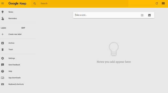 Google Keep dashboard - note taking from all devices