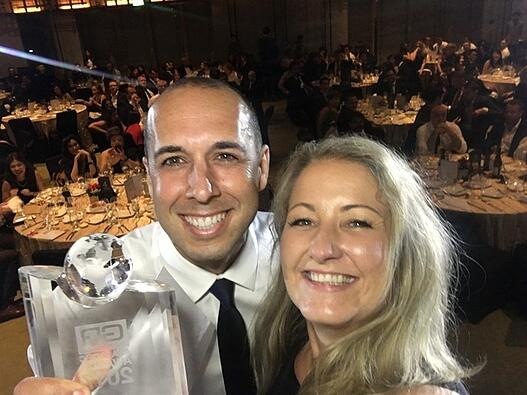 Smiling faces from David and Krsten after winning the award for Best Innovation